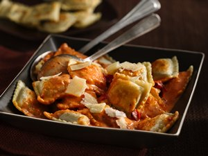 Pan Fried Ravioli in Tomato Vodka Cream Sauce