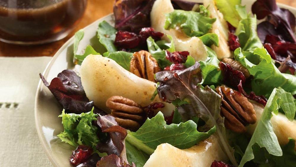Pear and Greens Salad with Map