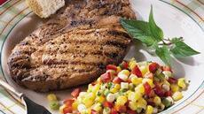 Pork Steaks with Crunchy Corn Relish Recipe