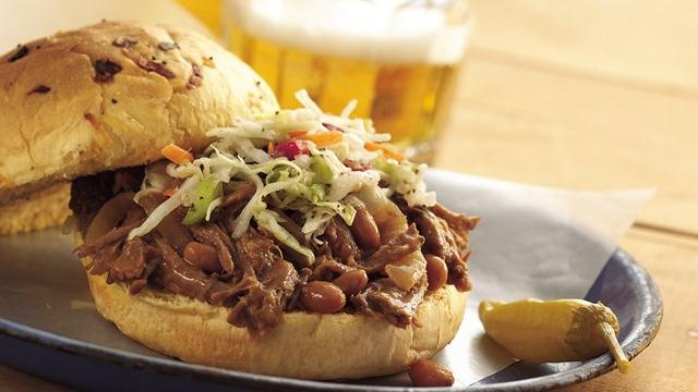 Slow Cooker Cowboy Beef and BBQ Bean Sandwiches Recipe