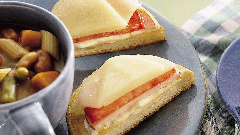 Open-Faced Canadian Bacon and Provolone Sandwiches