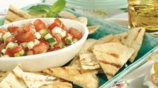 Minted Tomato Salsa with Grilled Pita Chips Recipe