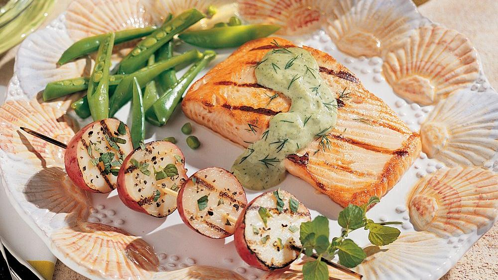 Grilled Salmon with Herbed Tartar Sauce