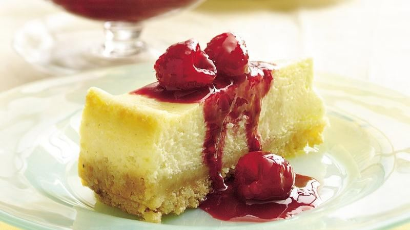Raspberry-Topped Eggnog Cheesecake