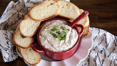 Warm French Onion Dip with French Bread Crostini