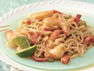 Asian noodles with shrimp was carried