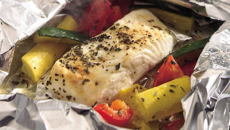 Grilled Lemon Pepper Halibut and Squash Packs