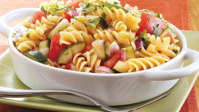 Gazpacho Pasta Salad for a Crowd
