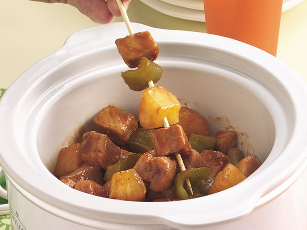 Slow Cooker Pork and Pineapple on a Stick