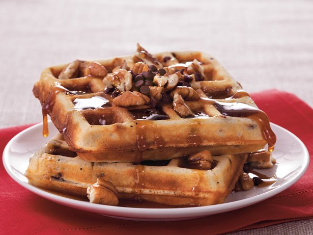 Pecan-Chocolate Chip Waffles
