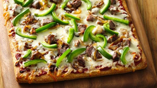 Grilled Philly Cheese Steak Pizza #Recipe