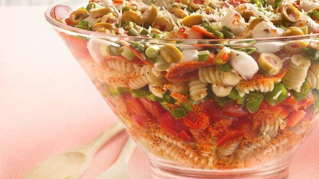 Layered Pizza Salad Recipe
