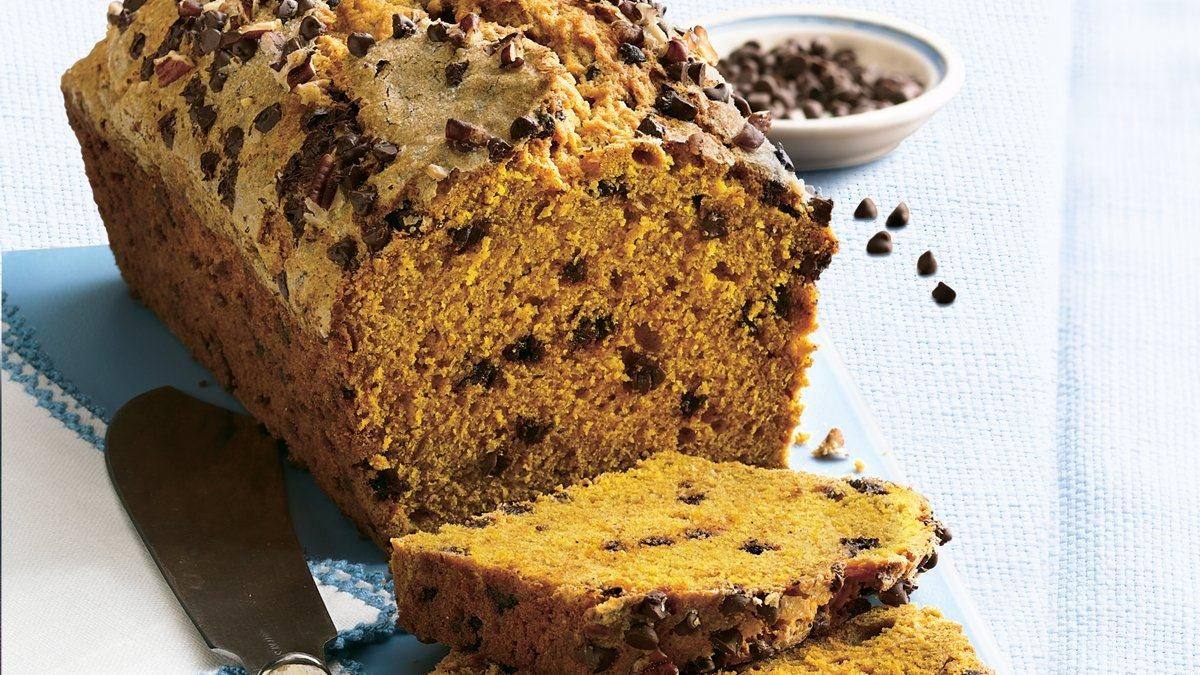 chocolate chip pumpkin bread dotted with chocolate chips pumpkin bread ...