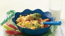 Veggie Macaroni and Cheese with Meatballs Recipe