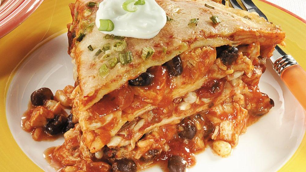 Layered Chicken Three-Cheese Enchilada Recipes — Dishmaps