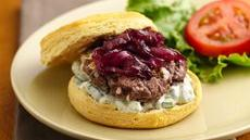 Caramelized Red Onion-Feta Burgers Recipe