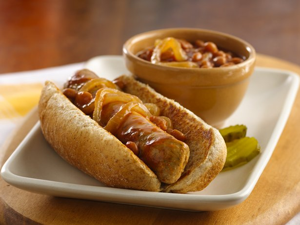 Beer-Glazed Brats and Beans