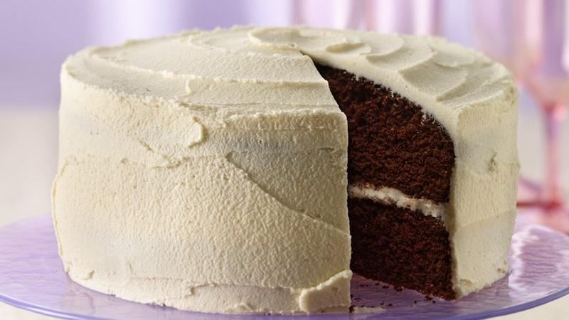 Delicious Chocolate Cake with White Frosting