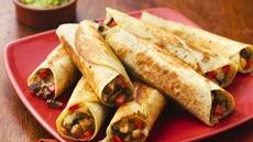 Pan-Fried Mushroom and Cheese Flautas Recipe