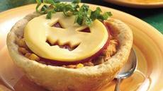 Jack-O&#39;-Lantern Chicken Taco Cups Recipe