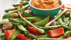 Roasted Vegetables with Roasted Pepper Hummus Recipe