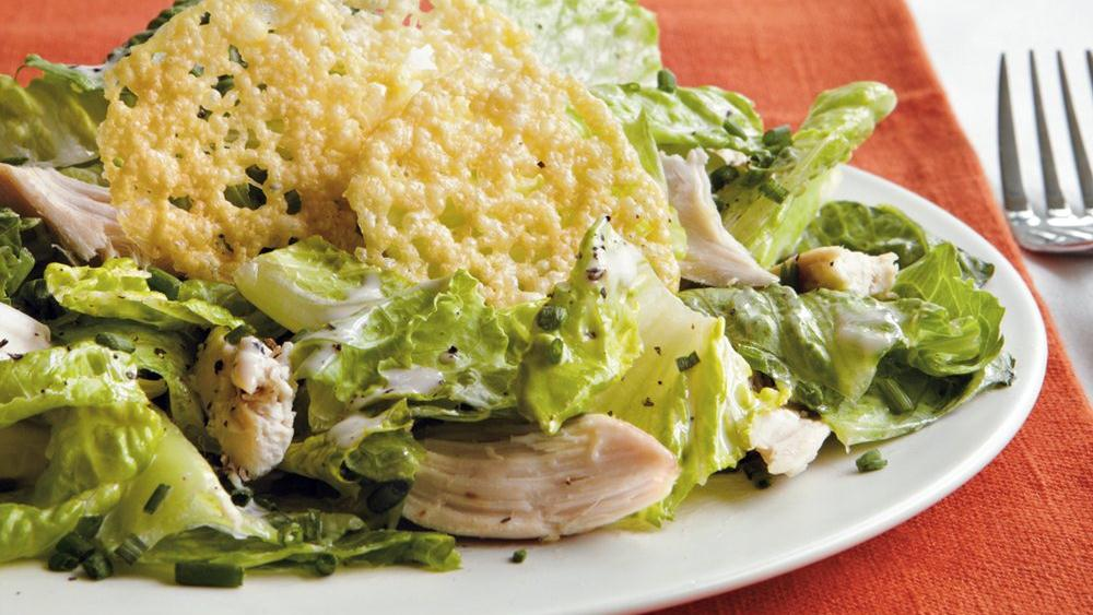 Chicken Caesar Salad with Parmesan Crisps