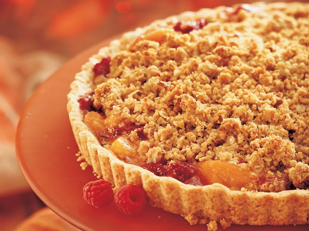 Peach-Raspberry Streusel Tart