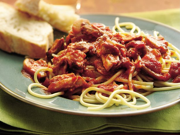 Slow Cooker Chunky Pork and Mushroom Spaghetti Sauce