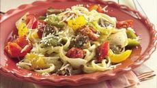 Linguine with Roasted Vegetables and Pesto Recipe