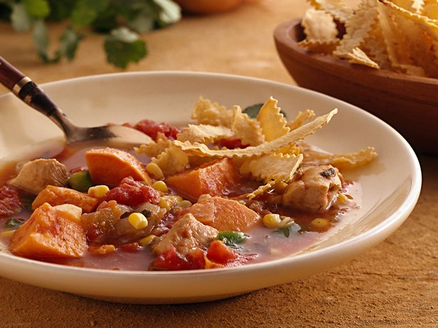 Slow Cooker Southwest Chicken Soup with Baked Tortilla Strips