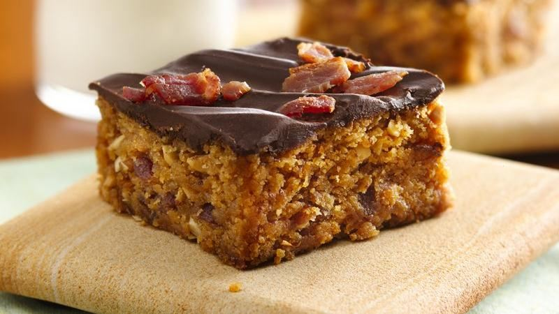 Chocolate-Topped Peanut Butter-Bacon Bars recipe from Betty Crocker