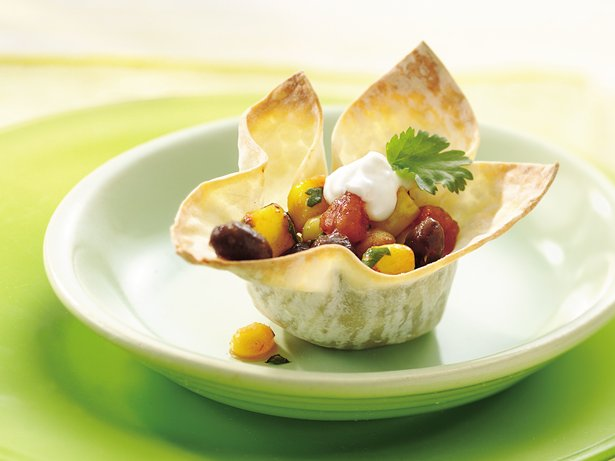Black Bean and Corn Wonton Cups