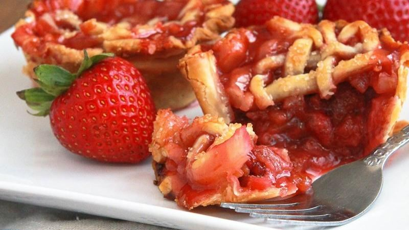 Mini Strawberry Rhubarb Lattice Pies recipe from Betty Crocker