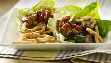 Chicken Lettuce Wraps with Sesame Crescent Noodles Recipe