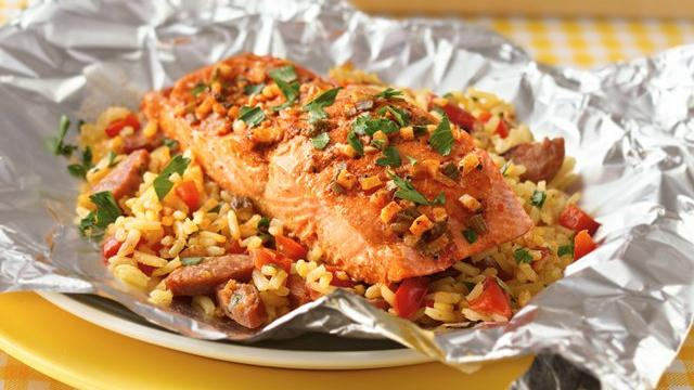 Grilled Salmon Paella Packets