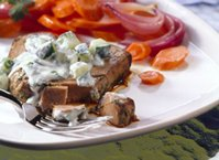 Marinated Tuna Steaks with Cucumber Sauce