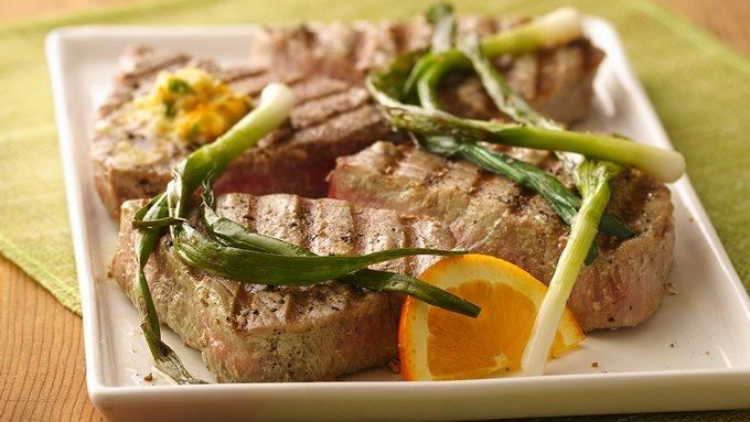 Grilled Tuna Steaks with Green Onions and Orange Butter recipe - from ...