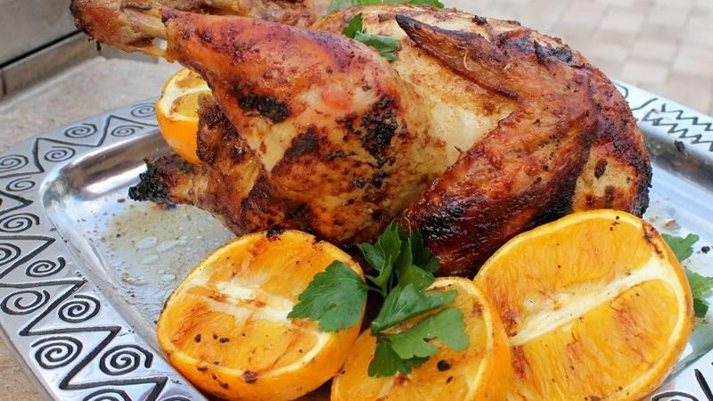 Orange Grilled Beer-Can Chickens