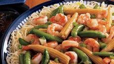 Stir-Fried Shrimp and Snap Peas Over Capellini Recipe