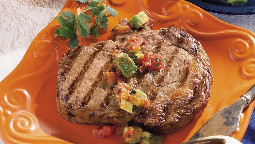 Rib-Eye Steaks with Avocado Salsa
