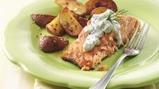 Grilled Marinated Salmon with Cucumber Sauce Recipe