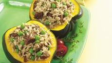 Squash with Vegetarian Sausage and Rice Stuffing Recipe