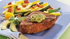 Grilled Tuna with Cilantro-Avocado Butter Recipe