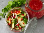 Fresh Sriracha Refrigerator Pickles