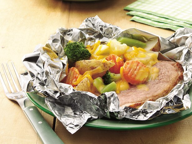 Grilled Cheesy Ham Supper Packs