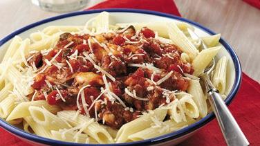 Penne with Cheesy Tomato-Sausage Sauce
