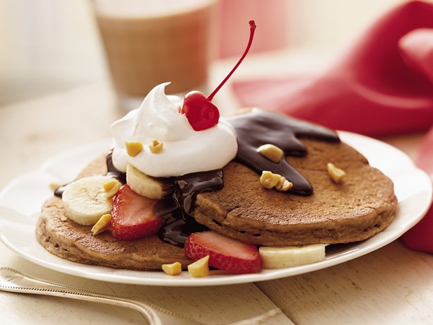 Image of Awesome Banana Split Pancakes, Betty Crocker