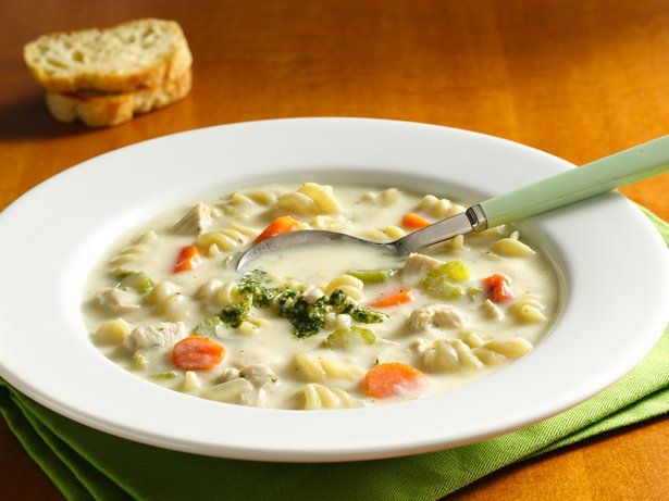 Creamy Chicken Noodle Soup with Pesto Drizzle