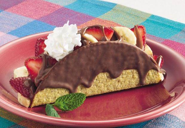 ... chocolate-covered taco shells are easy for kids to fill--no tipping