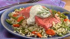Salmon with Vegetable Pilaf Recipe